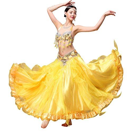 Bead Pailletten Belly Dance Performance Dancewear mit glänzenden Edge Dance Kostüme 3pcs , yellow , L (Street Jazz Dance Kostüme)