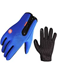 Hombres y mujeres paseo durante todo el invierno se refiere a la antideslizante Guantes Escalada deportes al aire libre ( Color : Azul , Tamaño : M )