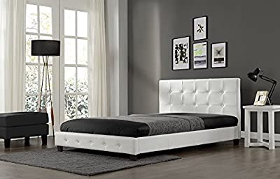 Bargain Faux Leather Diamante Bed frame - Double or King Size - Available in Black or White - inexpensive UK light shop.
