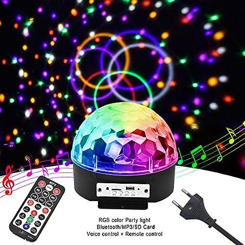MHtech LED Lichteffekte Discokugel mit Fernbedienung, Bühnenbeleuchtung 9 Fach Farbwechsel Discolicht Projektor Beleuchtung mit Bluetooth Lautsprecher DJ-Licht Party