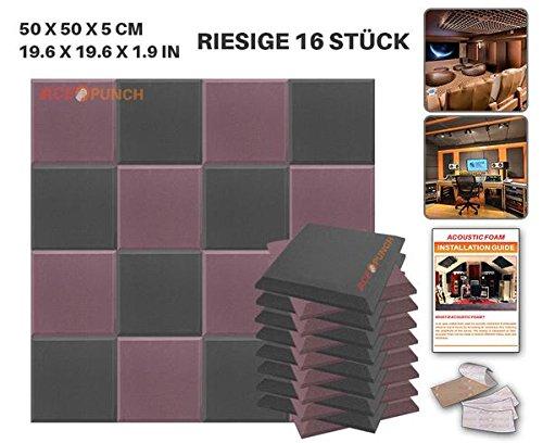 ace-punch-16-stucke-schwarz-und-burgund-farbe-kombination-flache-bbgeschragt-akustikschaumstoff-damm