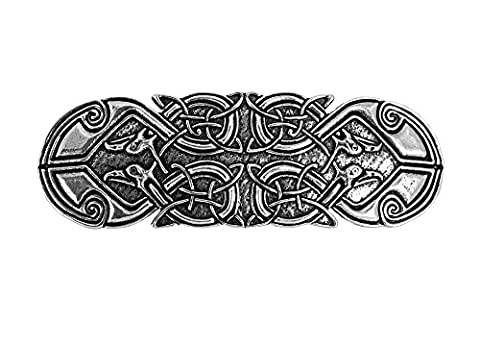 Oberon Design Celtic Peacock Hair Clip | Hand Crafted Metal Barrette With Imported French Clips