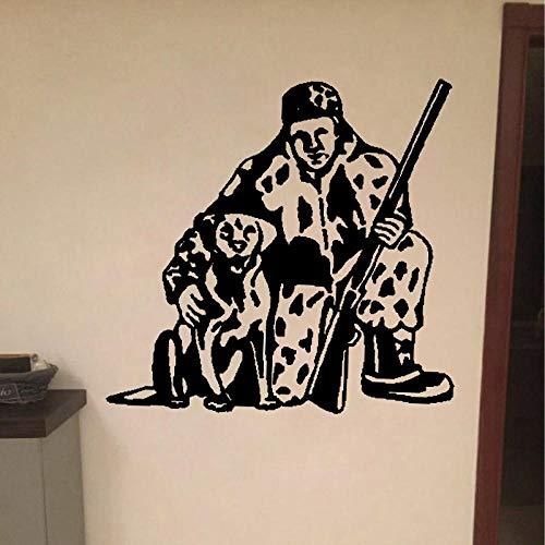 WandaufkleberSpaß-Tierhund Und Mann, Die Pvc-Wand-Aufkleber Für Hauptabziehbild 59Cm * 57.9Cm Jagen