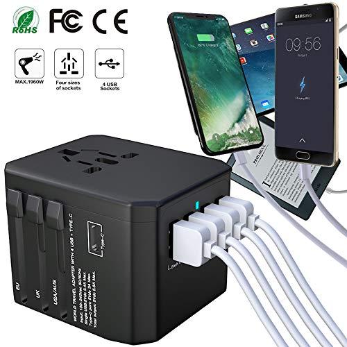 Universal Reiseadapter Weltweit Reisestecker-Luxsure Travel Adapter 4 USB Type C Stecker für 170...