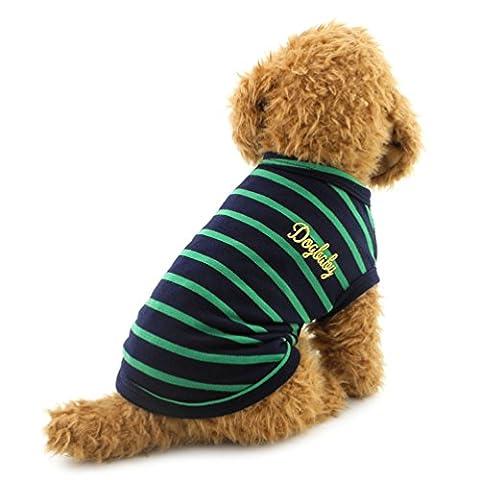 smalllee _ Lucky _ store Kleiner Hund Kleidung Baumwolle Streifen Weste T-shirt Doggy Shirts Chihuahua Kleidung Pet Kostüm