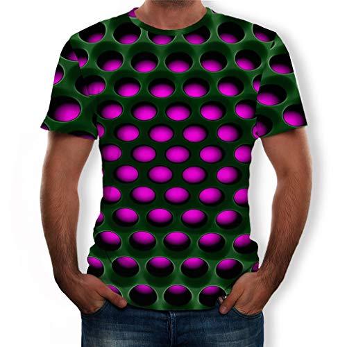 R-Cors T Shirt Herren Männer T-Shirts 3D Druck Kurzarm Rundhalsausschnitt mit Überall Muster Sommer T-Shirts -