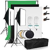 """Applique """"BPS 2x 125W Professionnel de Studio Softbox + Système de fond toile de fond noir blanc vert + Set de studio photo 110cm Réflecteur pliable Réflecteur 5en 1Or/Argent/Noir/Blanc/Diffuseur"""