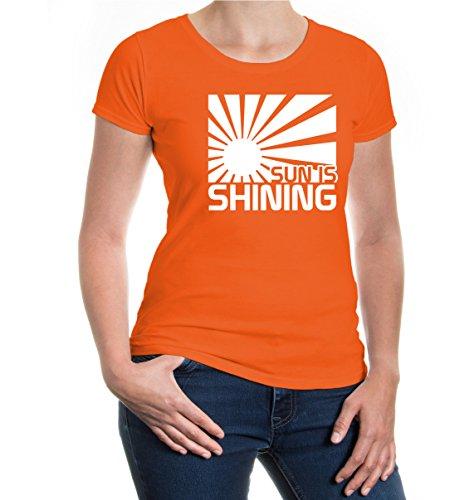 buXsbaum® Girlie T-Shirt Sun is shining Orange-White