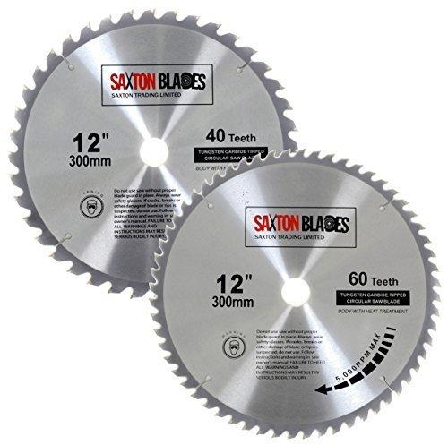2x Saxton TCT Bois Lame de scie circulaire 300mm x 30mm 40et 60T pour Bosch, Makita, etc.