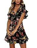 Yieune V-Ausschnitt Sommerkleid Damen Blumenmuster Casual Knie Lang Strandkleid Elegant Party Kleid (Schwarz M)