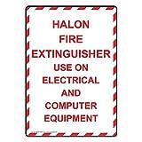 HALON Feuerlöscher Gebrauch auf Elektrische Aluminium Metall Schilder Neuheit Outdoor Yard Schilder Blechschild Vintage Metall Wand plauq 30,5x 20,3cm