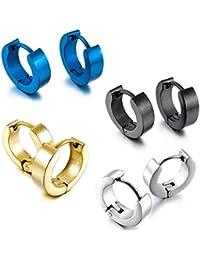 Aro Hoop Pendientes Conjunto - TOOGOO(R)Acero Inoxidable Semental Aro Hoop Huggie Pendientes Plata Negro Azul Oro Clasico Encanto Atractivo Elegante ( 4 Pares £© Hombre