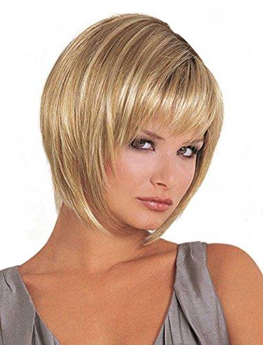 Tsnomore Trendy Gerade Chic 4 Zoll-Mischfarbe kurze Frauen-Perücke (Perücken Für Ältere Frauen)