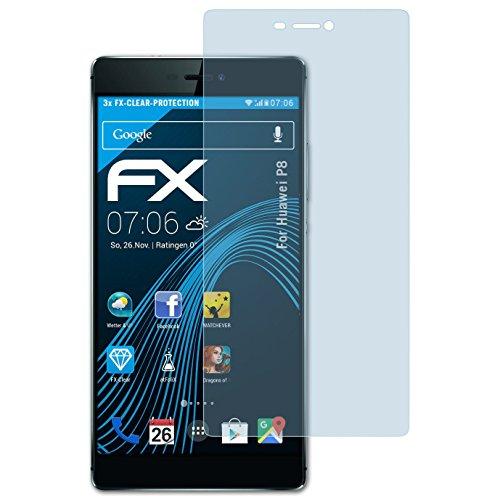 atFoliX 4050512143579-Displayschutzfolie (Bildschirmschutzfolie, Huawei, P8, Kratzfest, Transparent, 3Stück (S))