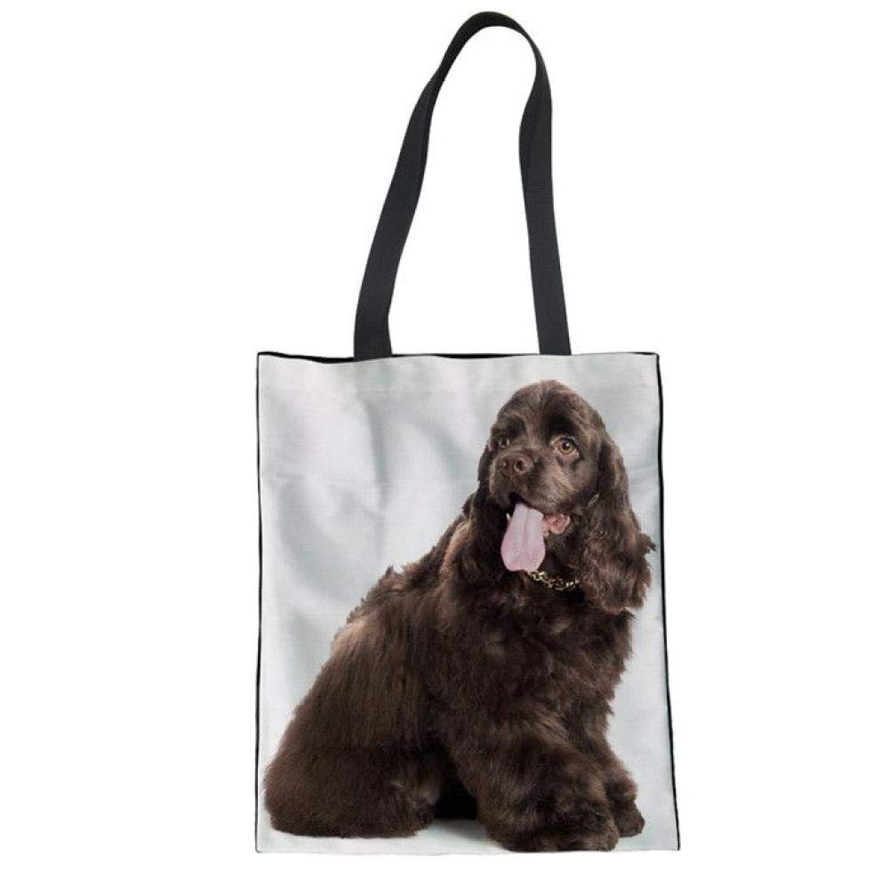 SHOUTIBAOBAO Canvas Tote Bag,3D American Cocker Spaniel Dogs Printed Leisure Handbag Canvas Shopping Bag For Women Student Reusable Shoulder Bags For Crafts