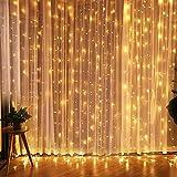 CREASHINE LED Lichterkette 3*3M 300er LED Warmweiß Lichtervorhang, dimmbare Kupferdraht IP44 Wasserdicht 8 Modi Außerlichterkette Deko für Garten, Bäume, Terrasse, Weihnachten, Hochzeiten, Partys