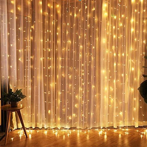 Creashine tenda con catena di luci led, 3 x 3 m, impermeabilità ip44, stelle led a catena di luce, tenda di luci per natale, decorazione feste, interni (3 * 3 metro 300 led bianco caldo)