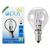 5 x Opus 42w = 60w Golf Ball SES E14 Small Screw Cap Long Life Clear Eco Halogen Light Bulbs Dimmable Energy Saving Lamps Pack