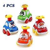 Amy & Benton Coches de Juguete, Surtido 4PCS Figuras Coches Vehículos De Juguete Coches Camiones De Juguete Regalos para bebés 1 2 3 4 años de Edad