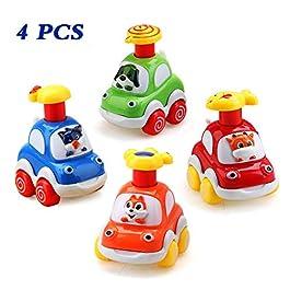 Amy & Benton Set Auto Giocattolo per Bambini, Assortiti 4PCS Set Cartoni Animati per Auto Giocat