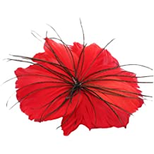 Tocado En Forma De Plumas Tocado En Forma De Flor De Plumas De Pavo Y Ganso Plumas Reales (Rojo brillante)