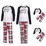 Riou Weihnachten Familie Pyjamas Set Karikatur Drucken Schlafanzug Homewear für Kinder Mama Dad Baby Kleidung Kinder PJS Pullover Weihnachts Pyjama Outfits Set (XL, Dad)