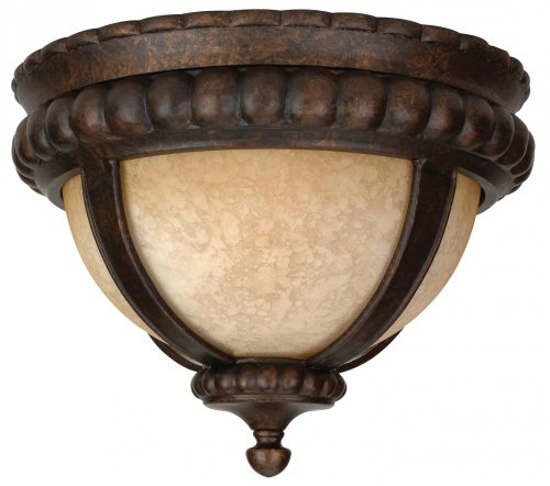 Outdoor Flush Mount Light with Antique Scavo Glass Shades, Bronze Finish by Craftmade ()