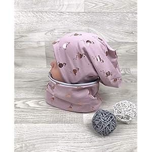 Beanie und Loop Set altrosa Flamingo, Jersey Fleece Gr 40-54 Beanie rosa kindermütze, mützen set Mädchen rosegold