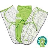 Ganzkörper PUCKSACK für Neugeborene und Babys aus 100% weicher Baumwolle von Ziggy Baby - 3er Pack - Einstellbares Wickeltuch / Einschlagdecke für Säuglinge von 3 bis 6 Kilo - grün und weiß