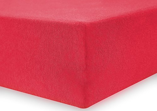 DecoKing 19009 80x200-90x200 cm Spannbettlaken rot 100% Baumwolle Jersey Boxspringbett Spannbetttuch Bettlaken Betttuch red Nephrite Collection - 4