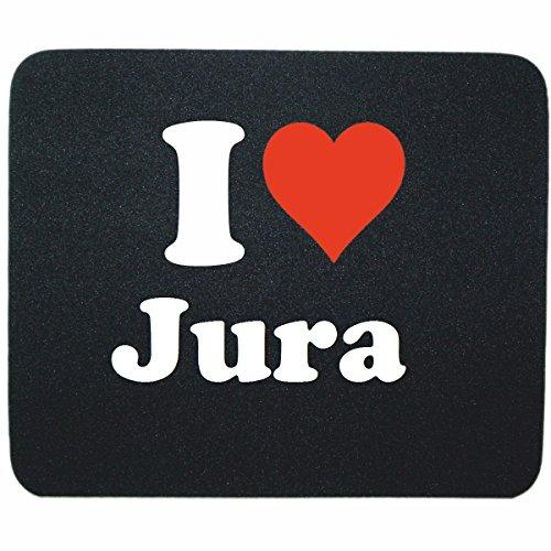 """Preisvergleich Produktbild Exklusive Geschenkidee: Mauspad """"I Love Jura"""" in Schwarz, eine tolle Geschenkidee die von Herzen kommt- Rutschfestes Mousepad- Weihnachts Geschenktipp"""