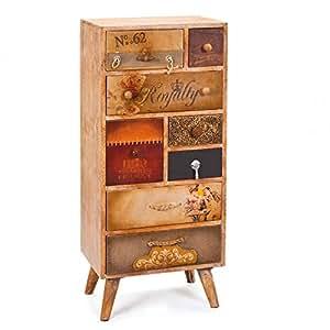 Commode bahut buffet design rangement 8 tiroirs vintage industriel Navan en Bois Massif MDF