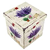 Faltbarer Sitzhocker, Lavendel, Sitzwürfel, Aufbewahrungsbox aus MDF/Kunstleder, 32x32cm