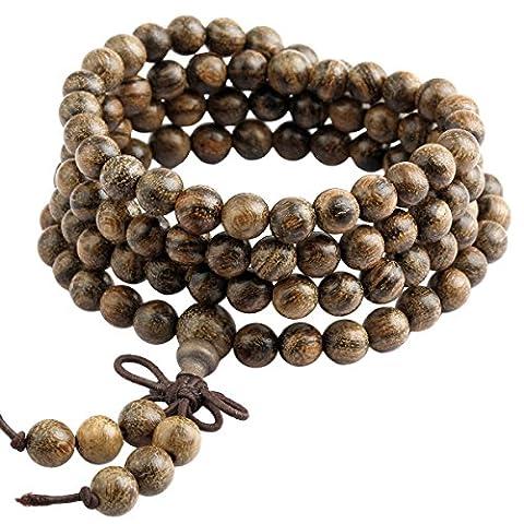 Shanxing Bois Bracelet/Collier Mala 108 Perles Chaîne Tibétain Bouddhiste Buddha Chinois Noeud