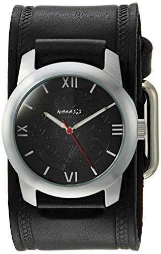 Nemesis Men's HST068K Elite Collection Silver-Tone Watch with Black Genuine Leather Cuff Bracelet