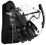 Set di maschera, boccaglio e pinne Phantom Aquatics Legendary Deluxe con borsa a rete per attrezzatura da snorkeling, unisex, Legendary Deluxe Mask Fin, Black, L