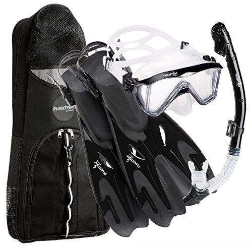 Phantom Aquatics légendaire Deluxe Masque/palmes/tuba avec tuba Gear Sac, Noir