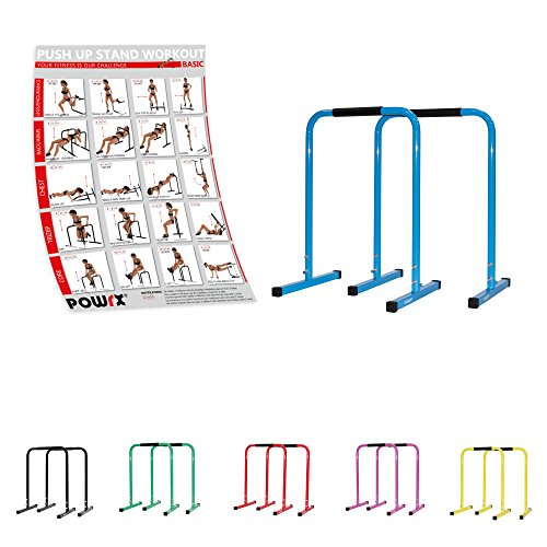POWRX Dip Barren (Paar) inkl. Workout I Push Up Stand Bar I Dip Station I Fitness Rack I verschiedene Farben und Größen
