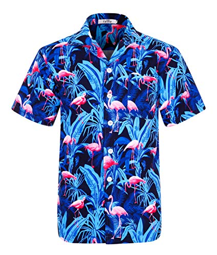 Herren Hawaii Hemd Kurzarm Flamingos Aloha Party Shirt Palm Beach Shirts EHS009-L