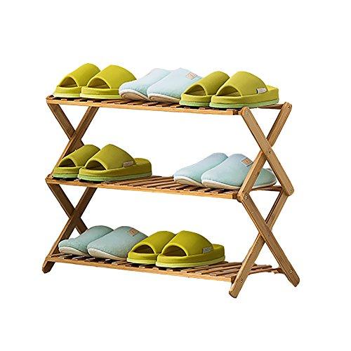 LFF--Schuhregal Shoe Rack Bamboo 3 Tier Staubdicht Verstärkung Modern Minimalist Schuhregale...