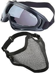 2 en 1 Ajustable Malla de acero Cráneo mascarilla + Gafas de protección UV400 sol Deportivas Anti-viento