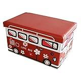 Style home Faltbarer Sitzhocker Aufbewahrungsbox für Kinder Kunstlederbezug - Love Bus - 50 x 30 x 30 cm - 165030H