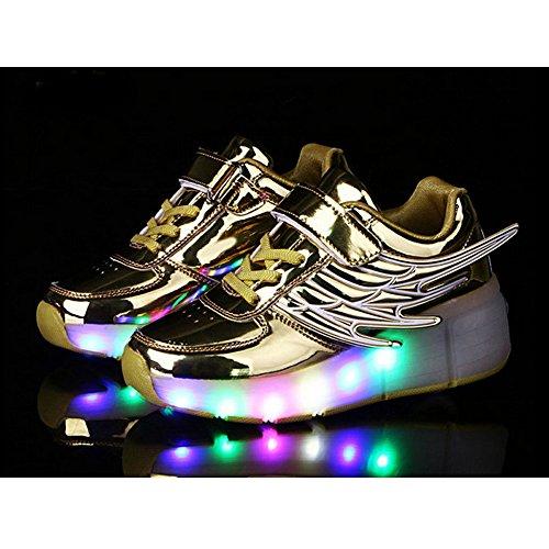 Meurry Unisex LED-Licht Skate Shoes Schuhe Flügel-Art Rollen Verstellbare Schlittschuhe Skateboard Lnline Sneaker Einzelnes Rad Jungen Mädchen Kinder Golden