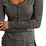 FORH Damen Vintage Langarm Spitzen Bluse Sexy V-Ausschnitt Hemdblusen Casual Lose Langarmshirts T-Shirt Tops Festliche Slim Fit Blusen Tuniken Oberteil  (Grau, XL)