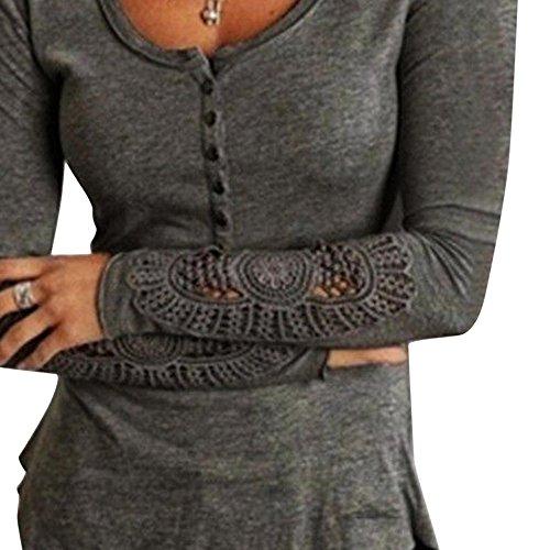 FORH Damen Vintage Langarm Spitzen Bluse Sexy V-Ausschnitt Hemdblusen Casual Lose Langarmshirts T-Shirt Tops Festliche Slim Fit Blusen Tuniken Oberteil  (Grau, L) (Sexy Bluse Shirt)