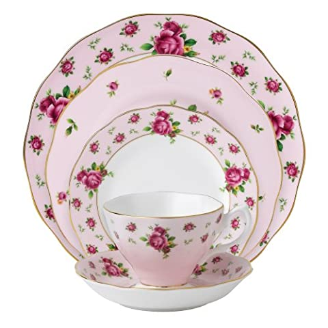 Royal Albert New Country Roses Pink Vintage Formal Place Setting, 5-Piece by Royal Albert
