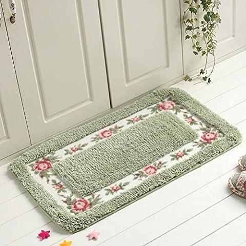 Eazyhurry Elegant Flower Print Coral Fleece Non-skid Outdoor Floor Mat Rectangle Absorbent Home Decor Hand Woven Area Rug Carpet Microfiber Entrance Doormat Green 16