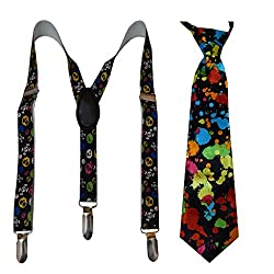 Navaksha Black Y-Back Graphic Kids Suspender with Matching Necktie