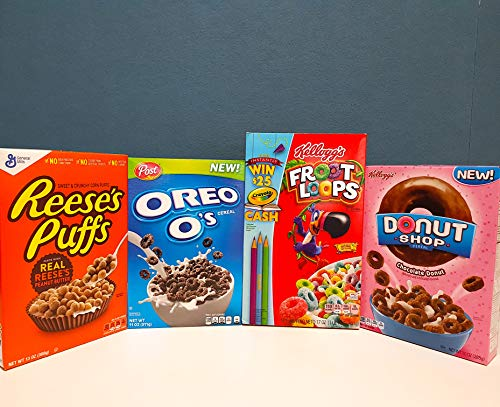 b95657ff74 Froot Loops + Oreo + Donut Shop Choco + Reeses Puffs pack cereales