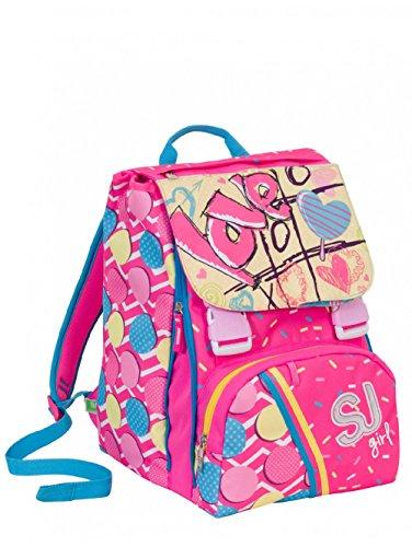 Zaino scuola sdoppiabile SJ GANG NEW - GIRL - Rosa Azzurro - FLIP SYSTEM - 28 LT elementari e medie 3 pattine sfogliabili